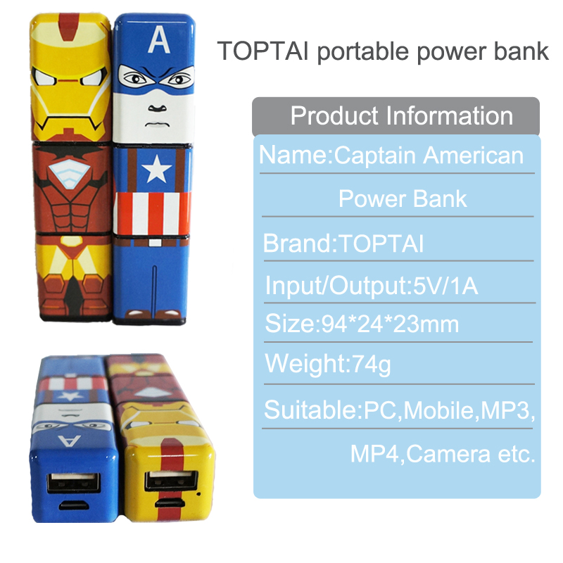 TOPTAI portable power bank 2600mah