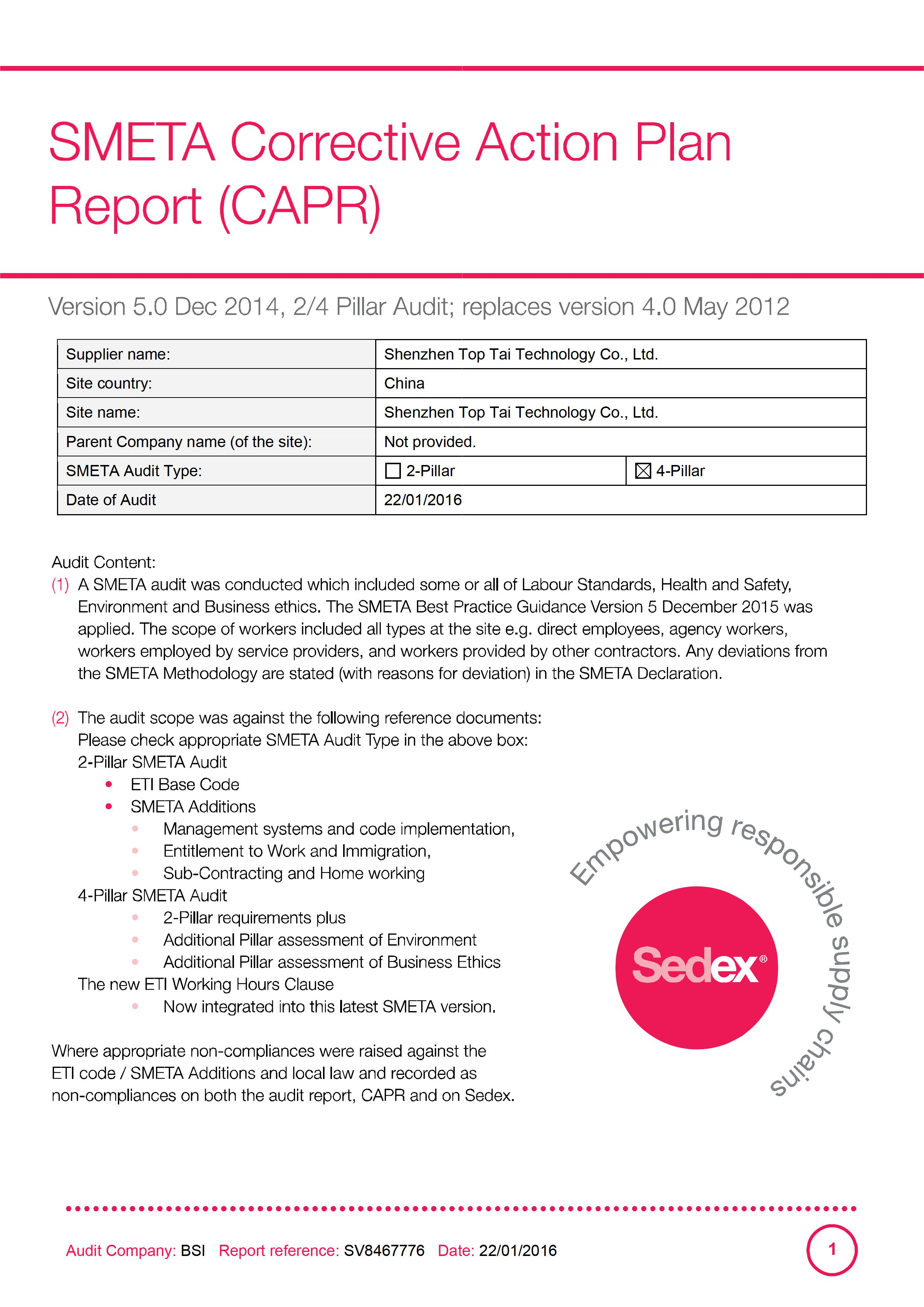 SMETA Corrective Action Plan Report (CAPR)