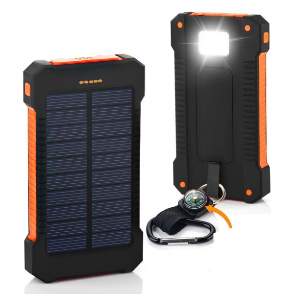NEWEST 8000mAh Waterproof Solar Charger External Power Bank Pack 4 LED Dual USB
