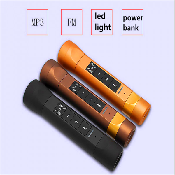 4 In 1 Wireless Waterproof LED Flashlight/Power Bank/Bluetooth Speaker/FM