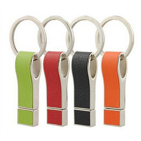 USB Flash Drive 16GB USB 2.0 Key Chain Leather Metal USB Stick Pen Drive
