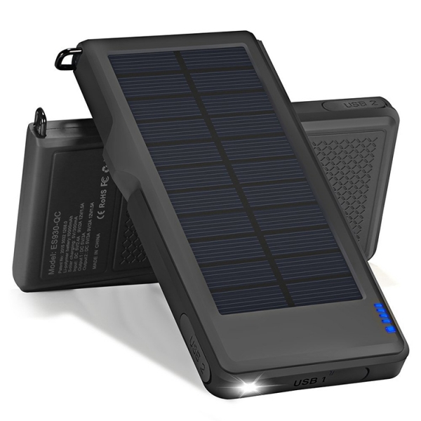 Solar Quick Charger 3.0 Power Bank 10000mAh Dual USB Battery Pack Fast Charging