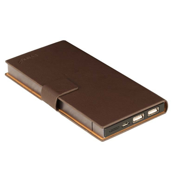 5000mah Aluminum Alloy Power bank With LED Light indicator And Flip leather case