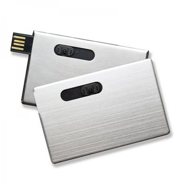 Credit Card Memory Stick Aluminium Metal USB Flash Drive Pendrive Silver