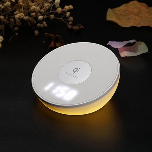 Desk Lamp night-light LED clock wireless charger base fast charging pad