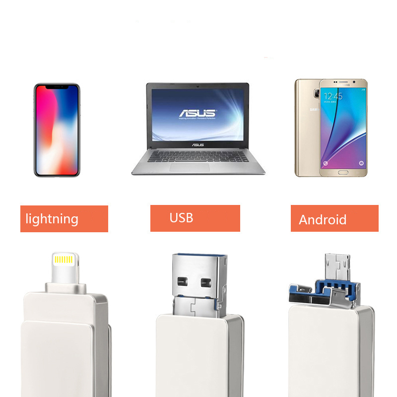 Lightning Flash Drive 3-in-1 USB Memory Stick OTG U Disk