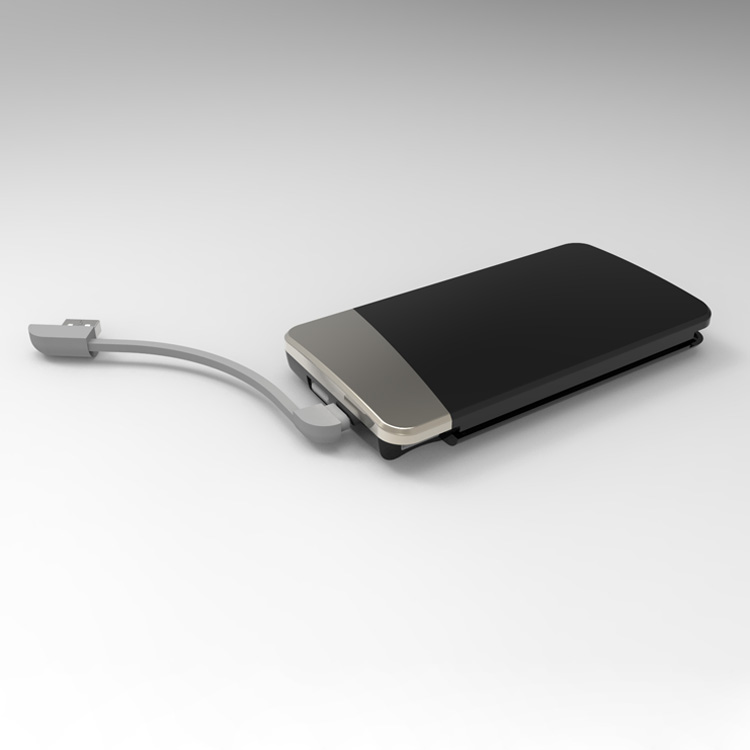Portable Quick Charging Power Bank Built-in Cable