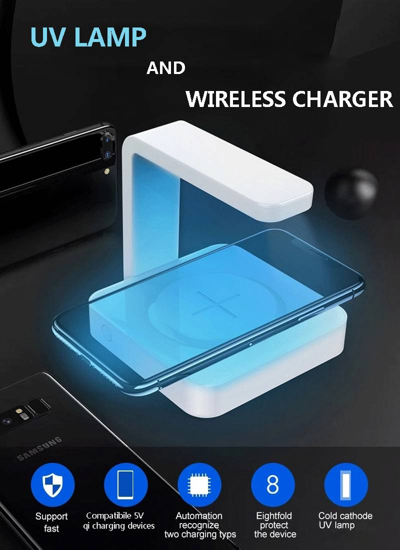 Innovative Products Multifunctional 4 in 1 Wireless Charger Uvc Light Phone Earphone Smartwatch Port